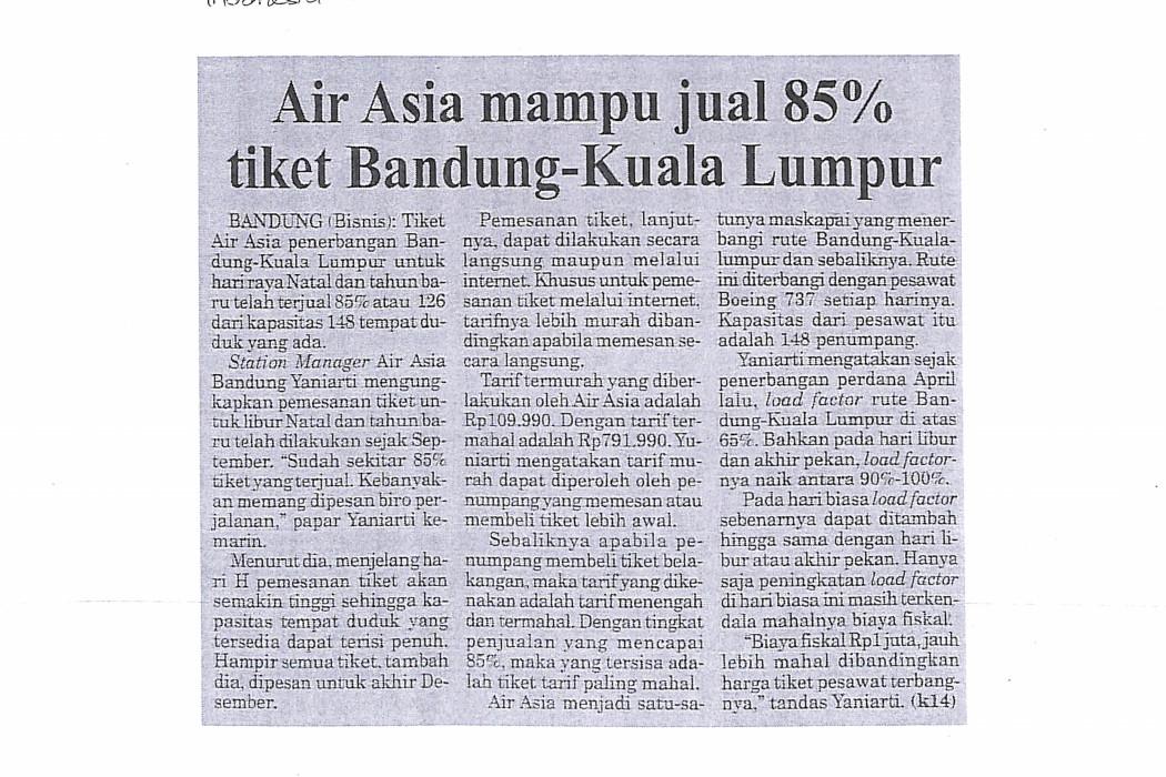 airasia mampu jual 85% tiket Bandung-Kuala Lumpur