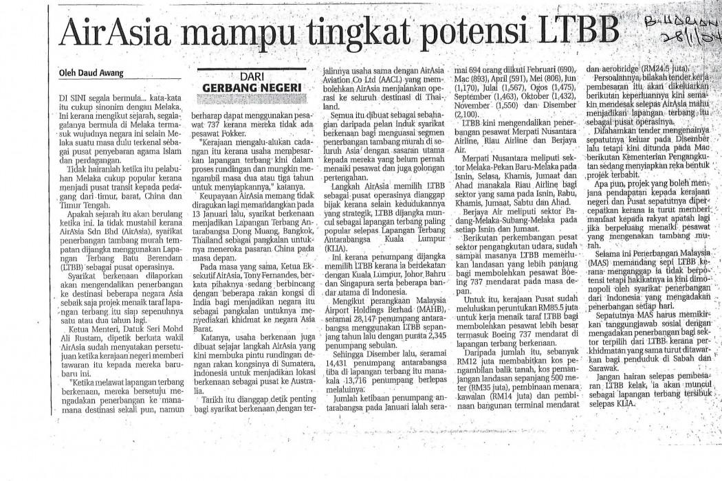 airasia mampu tingkat potensi LTBB