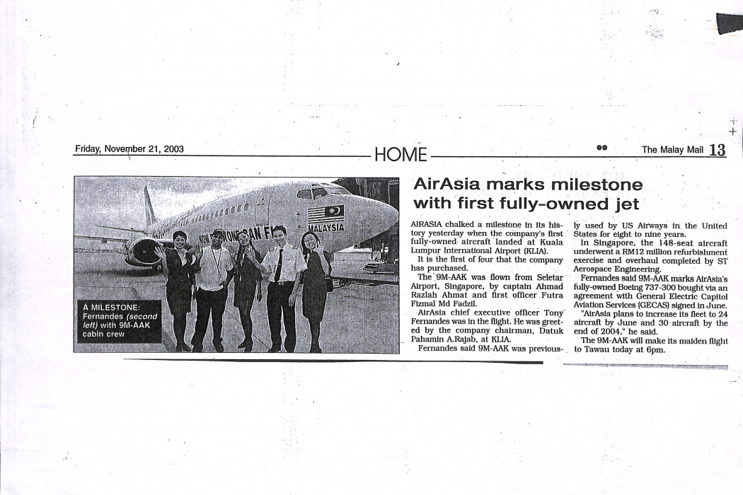 airasia marks milestone with first fully-owned jet