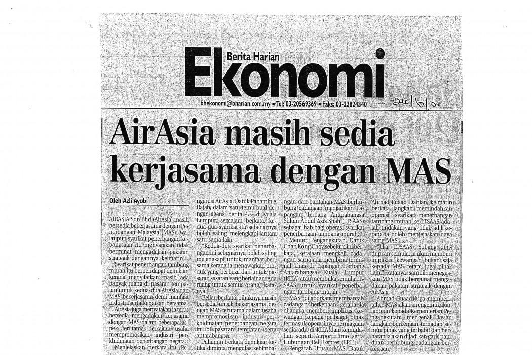 airasia masih sedia kerjasama dengan MAS