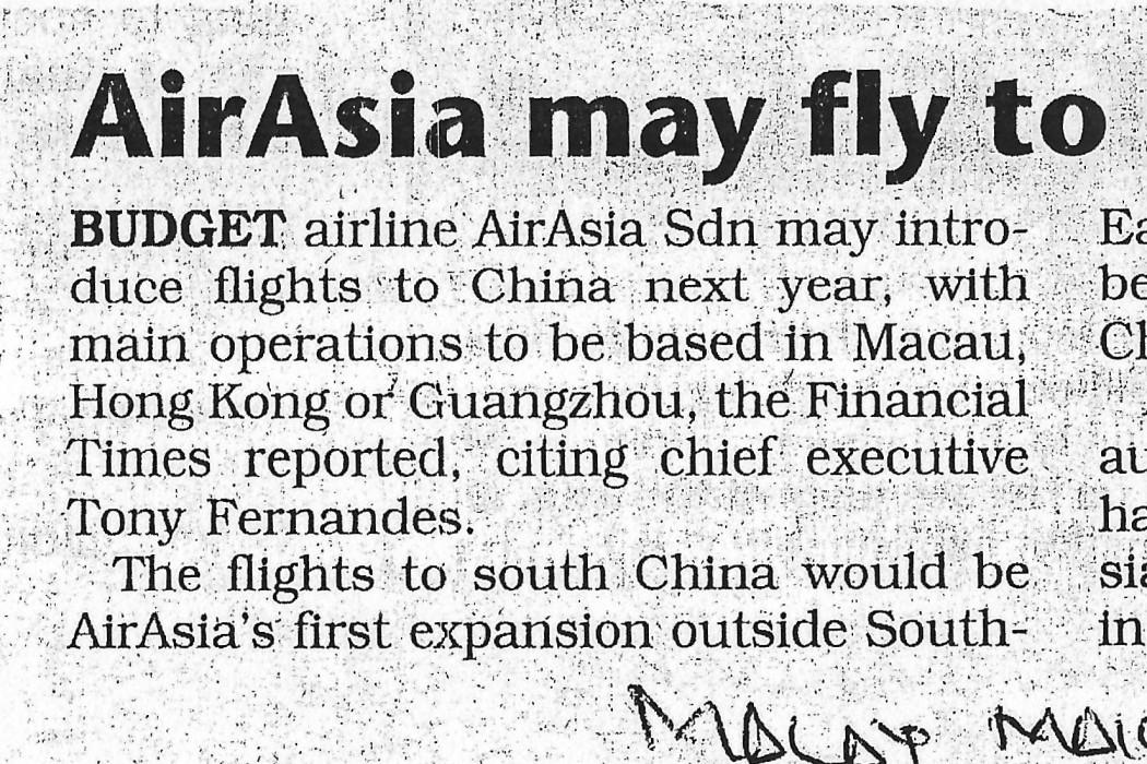 airasia May Fly To South China