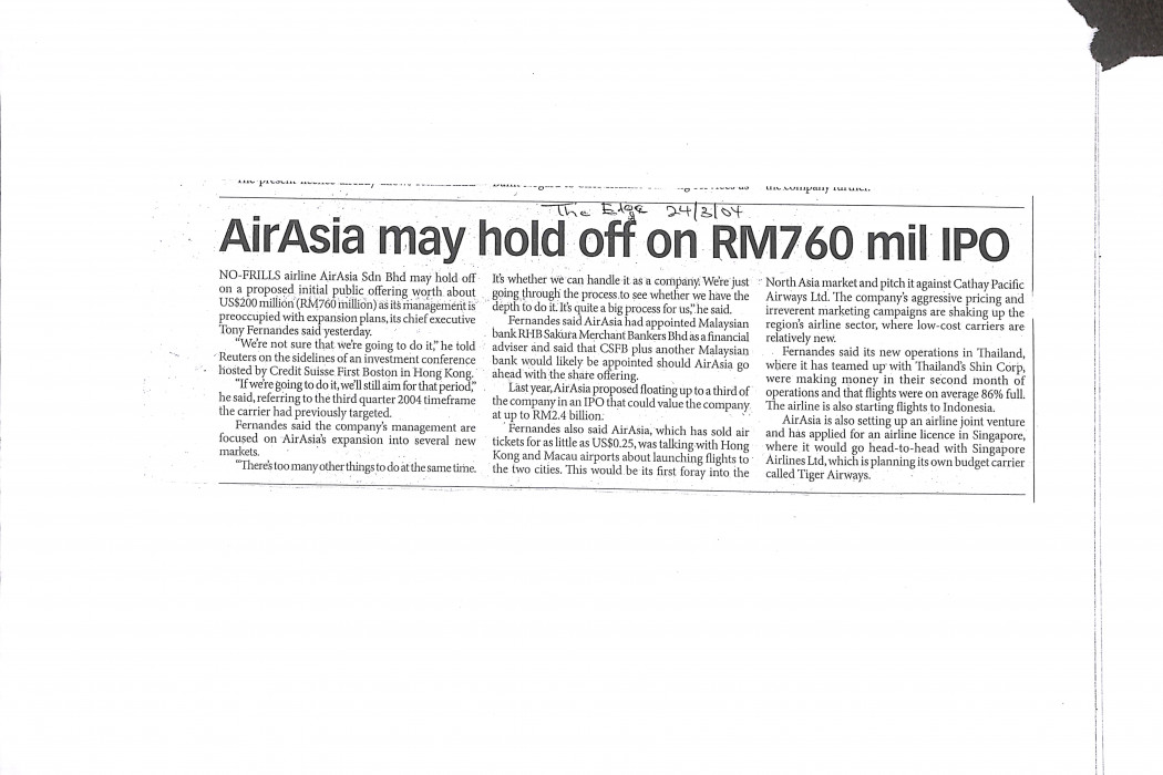 airasia may hold off on RM760 mil IPO