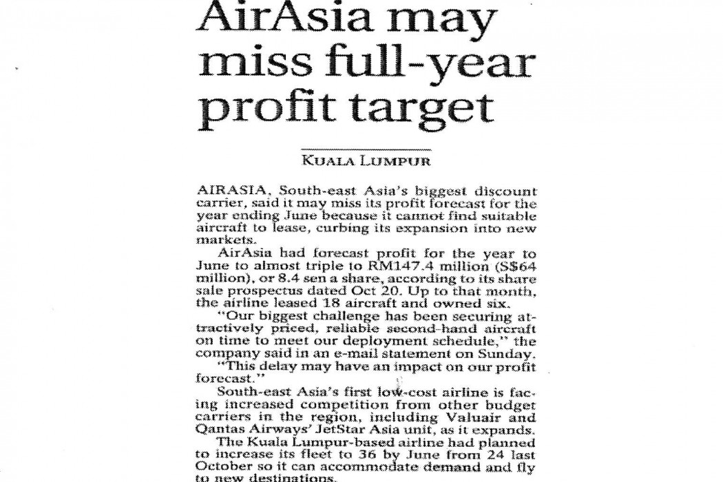 airasia may miss full-year profit target