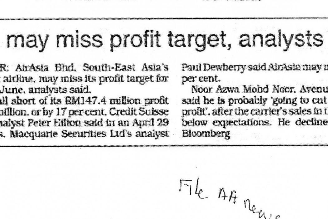 airasia may miss profit target, analysts say
