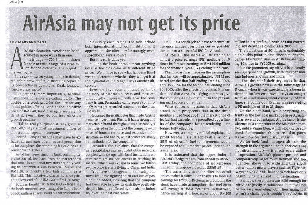 airasia may not get its price