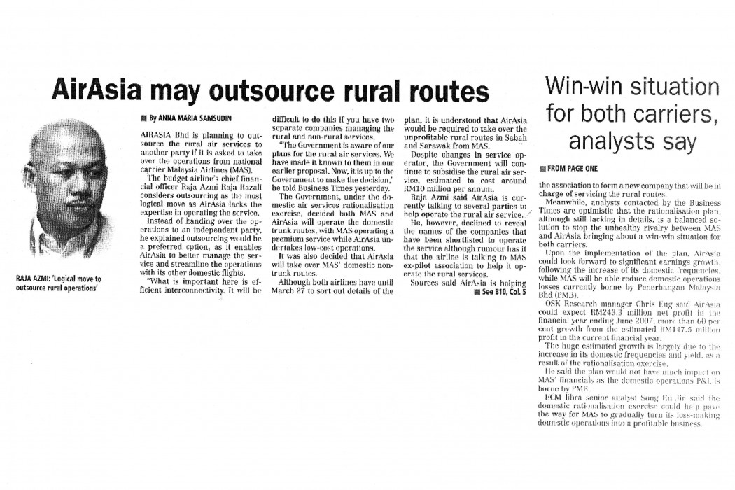 airasia may outsource rural routes