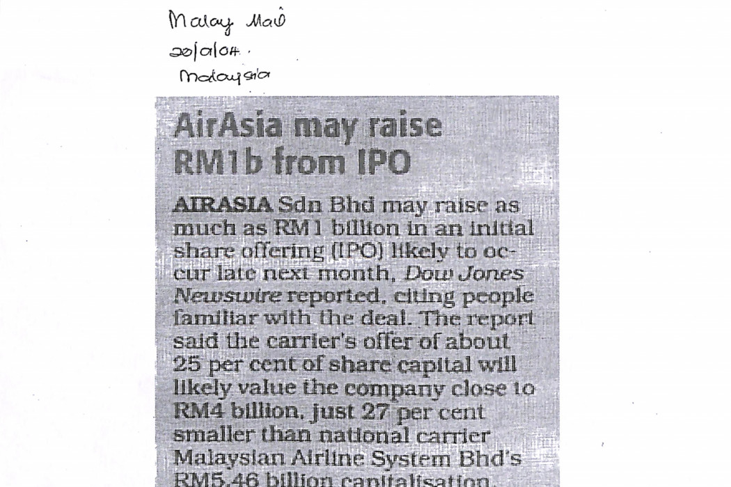 airasia may raise RM1b from IPO