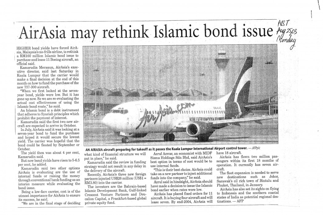 airasia may rethink Islamic bond issue