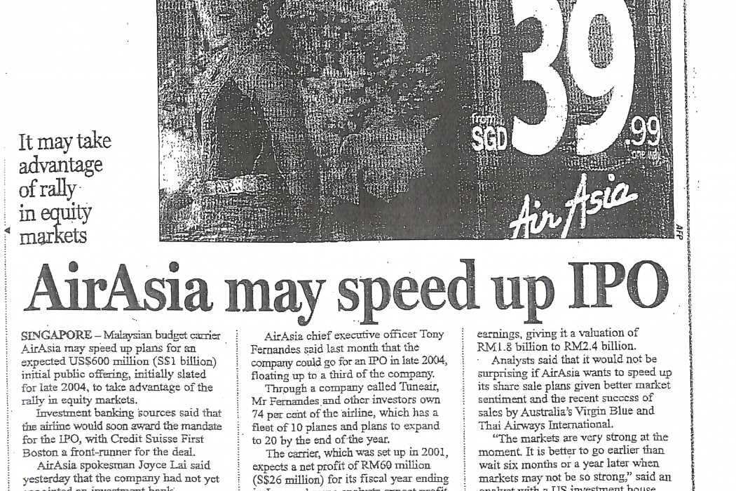 airasia may speed up IPO
