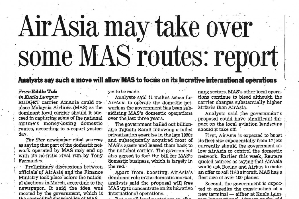 airasia may take over some MAS routes report