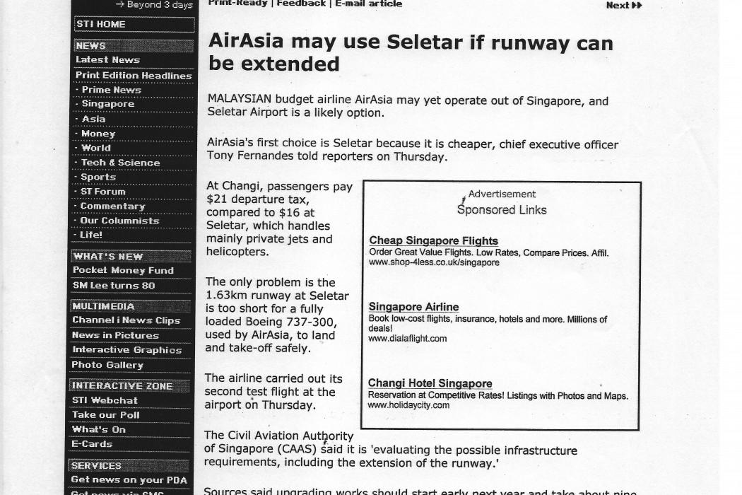 airasia may use Seletar if runway can be extended