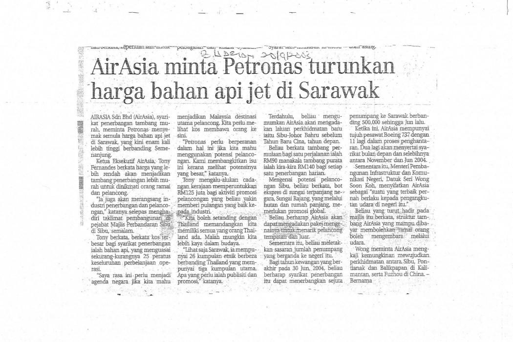 airasia minta Petronas turunkan harga bahan api jet di Sarawak