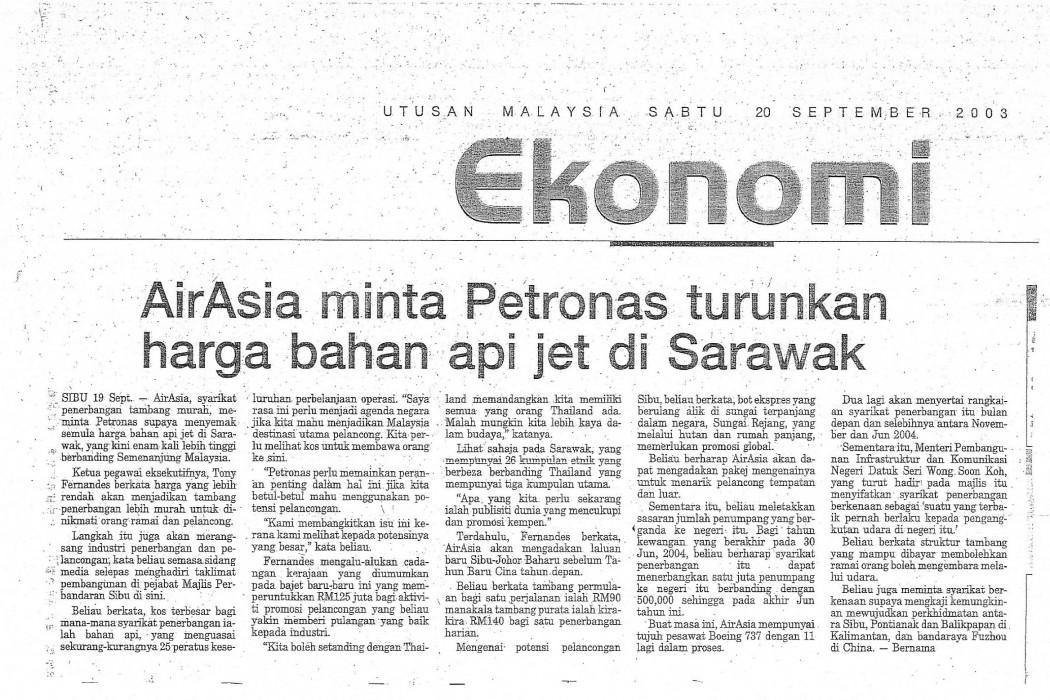 airasia minta Petronas turunkan harga bahan api jet di Sarawak (UM)