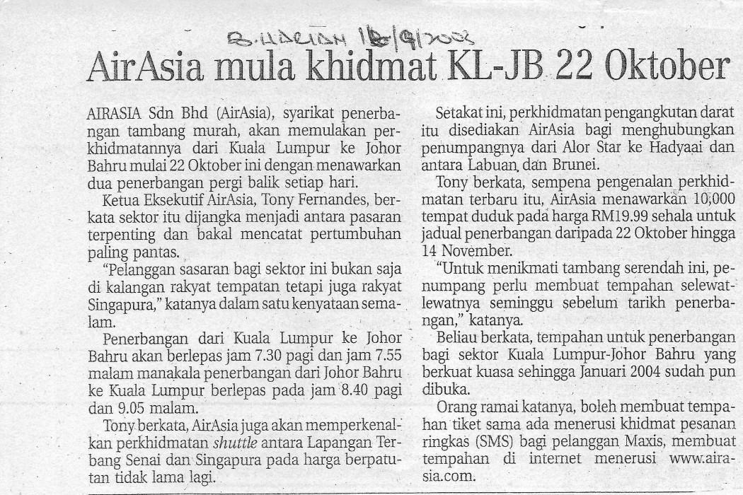 airasia mula khidmat KL-JB 22 Oktober