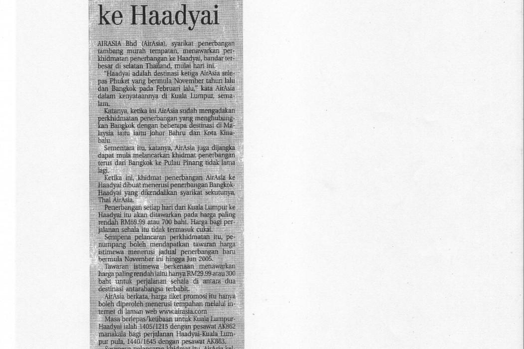 airasia mula khidmat ke Haadyai