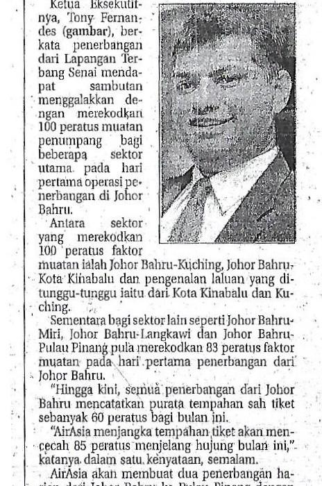 airasia mula penerbangan harian dari Senai