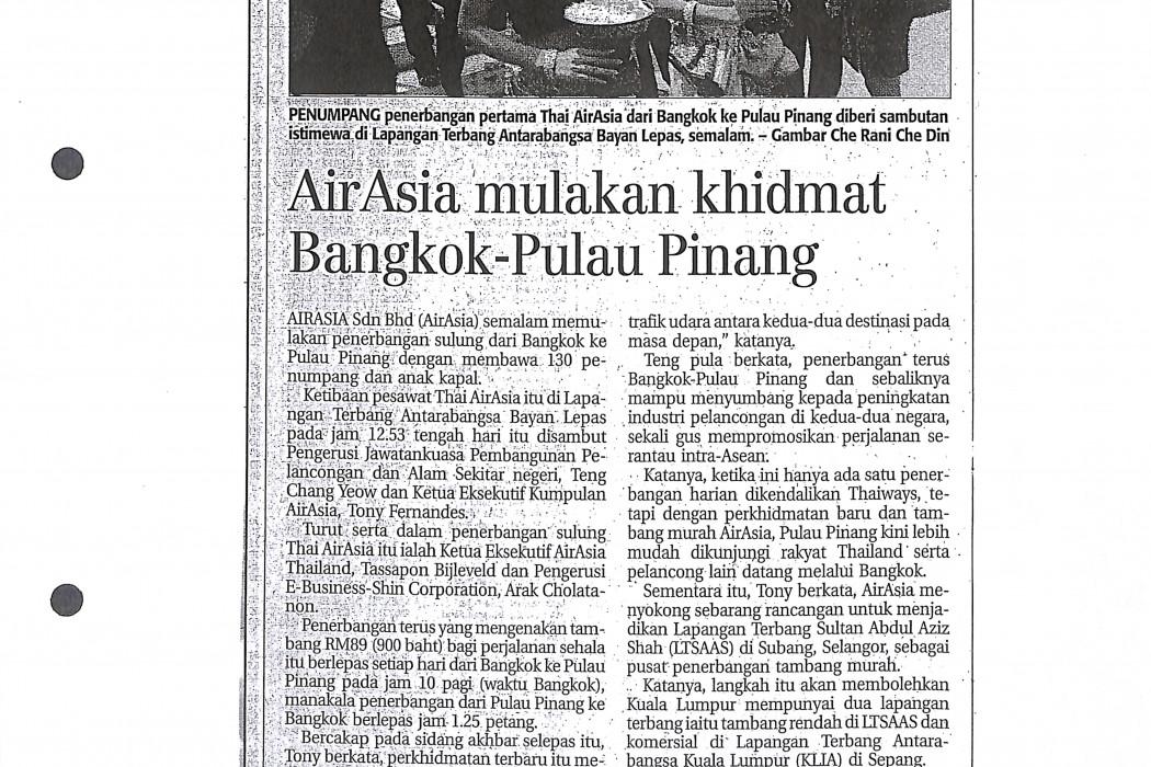 airasia mulakan khidmat Bangkok-Pulau Pinang