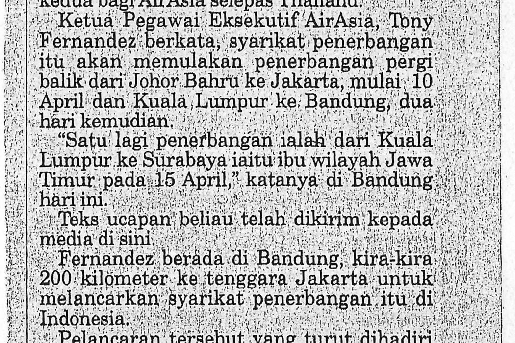 airasia mulakan khidmat ke tiga bandar Indonesia