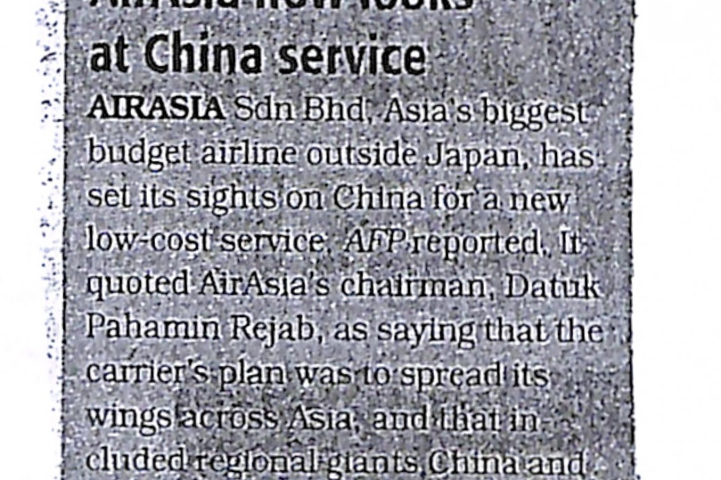 airasia now looks at China service