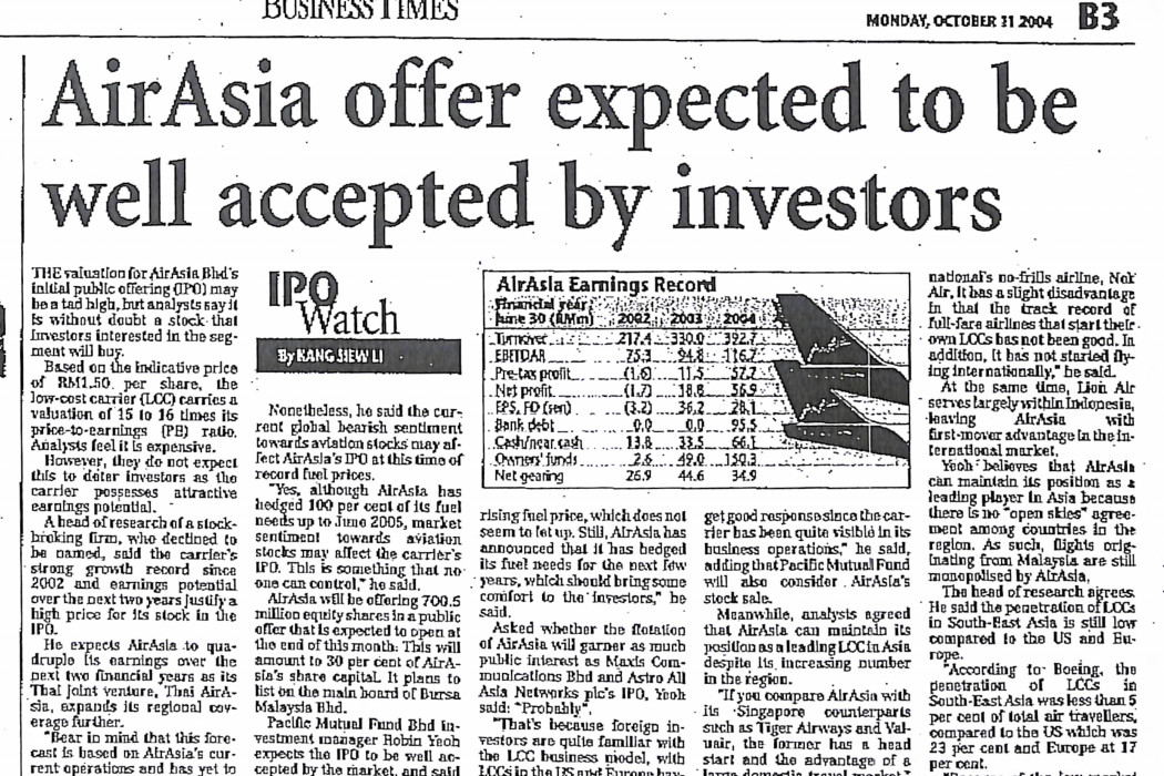 airasia offer expected to be well accepted by investors