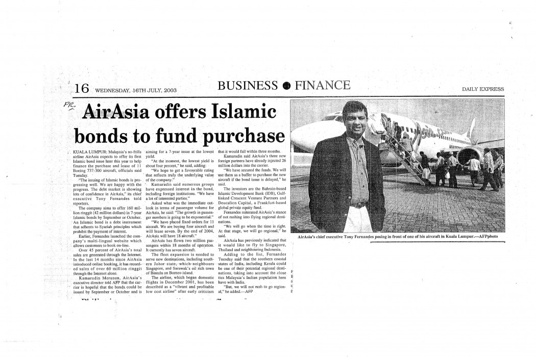 airasia offers Islamic bonds to fund purchase