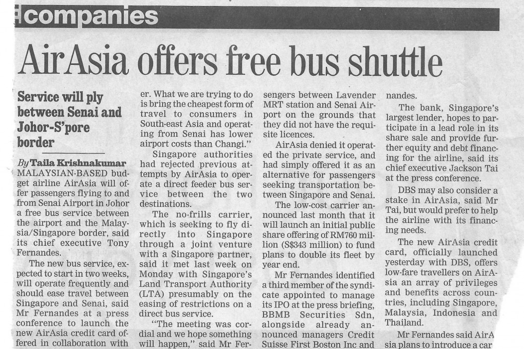 airasia offers free bus shuttle