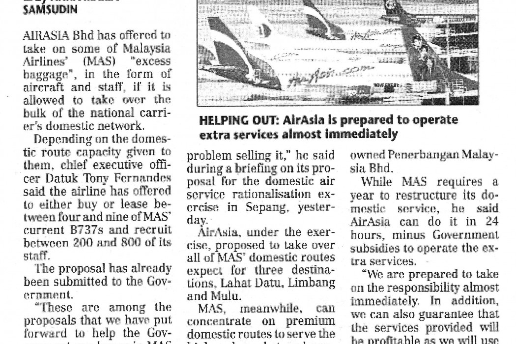 airasia offers to take on some MAS planes, staff