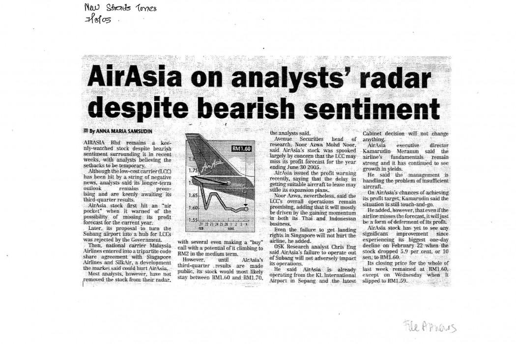 airasia on analysts' radar despite bearish sentiment