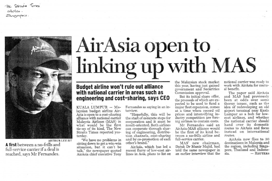 airasia open to linking up with MAS