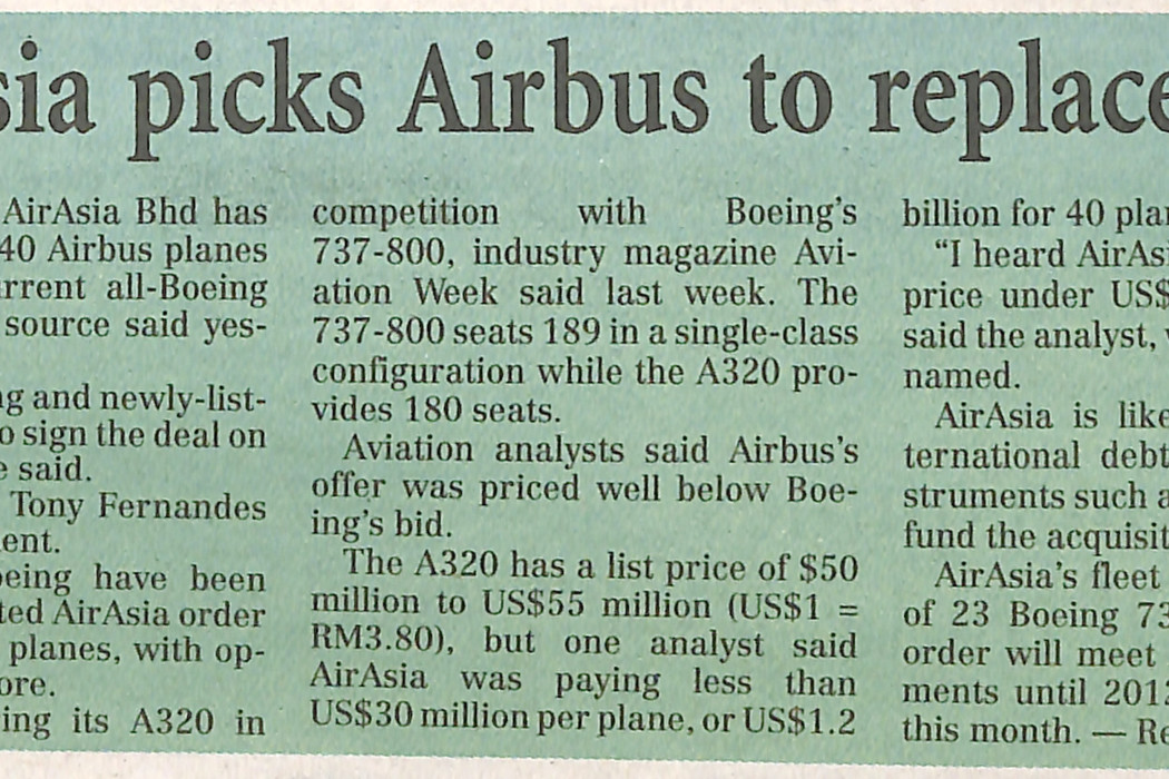 airasia picks Airbus to replace fleet