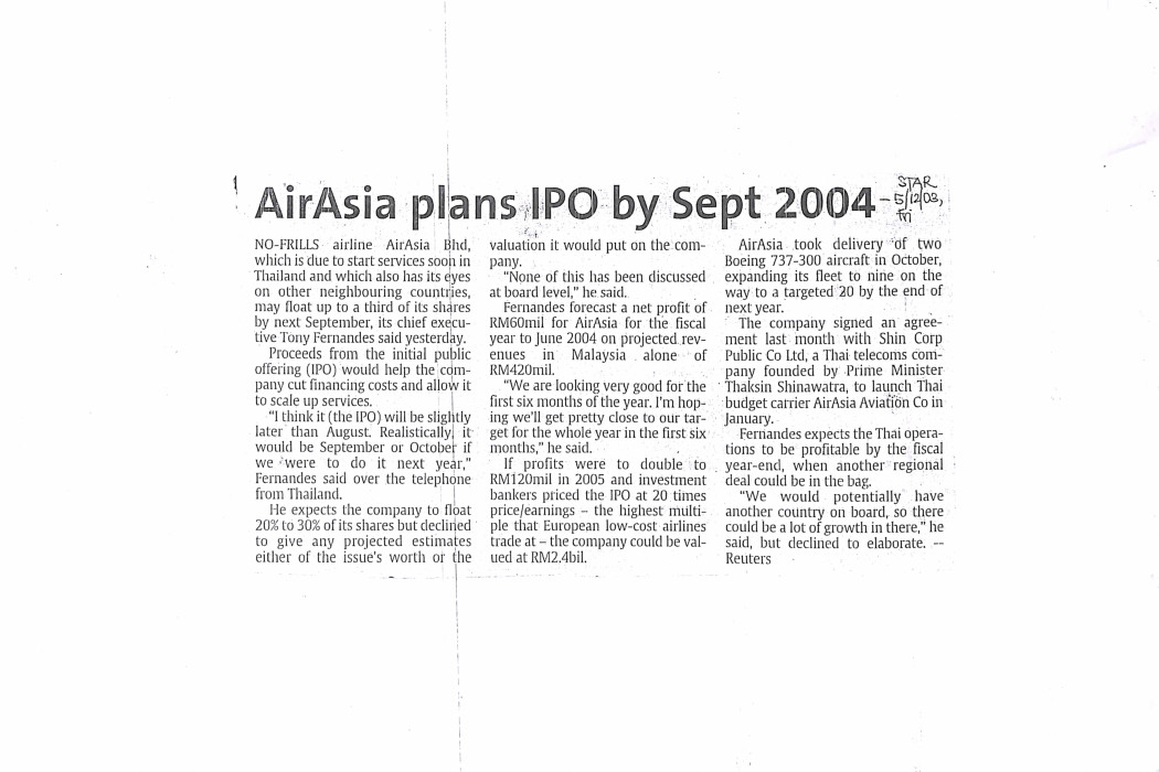 airasia plans IPO by Sept 2004