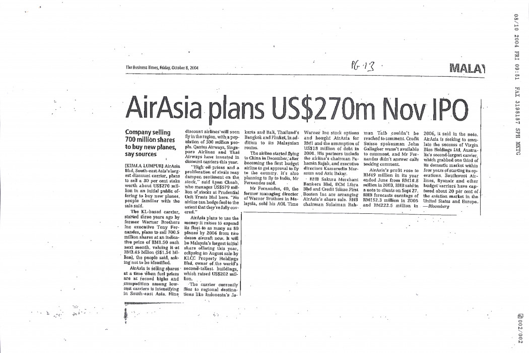 airasia plans US$270m Nov IPO