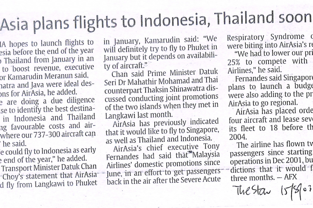 airasia plans flights to Indonesia, Thailand soon