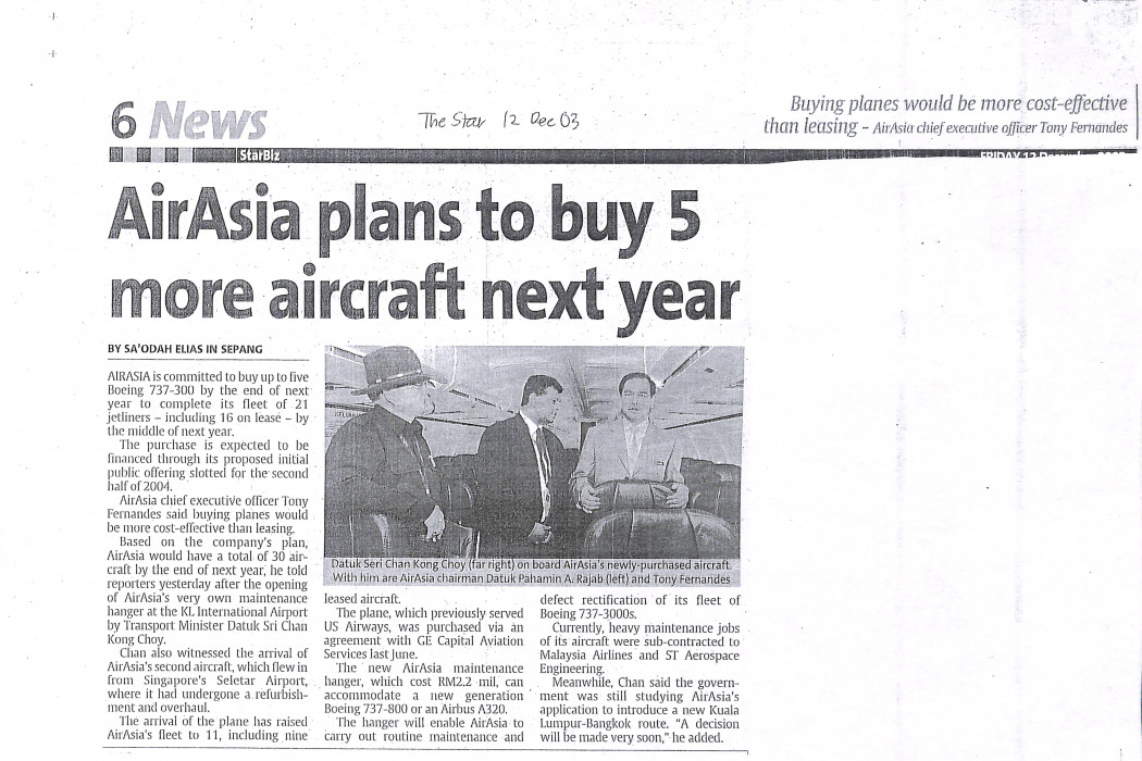 airasia plans to buy 5 more aircraft next year
