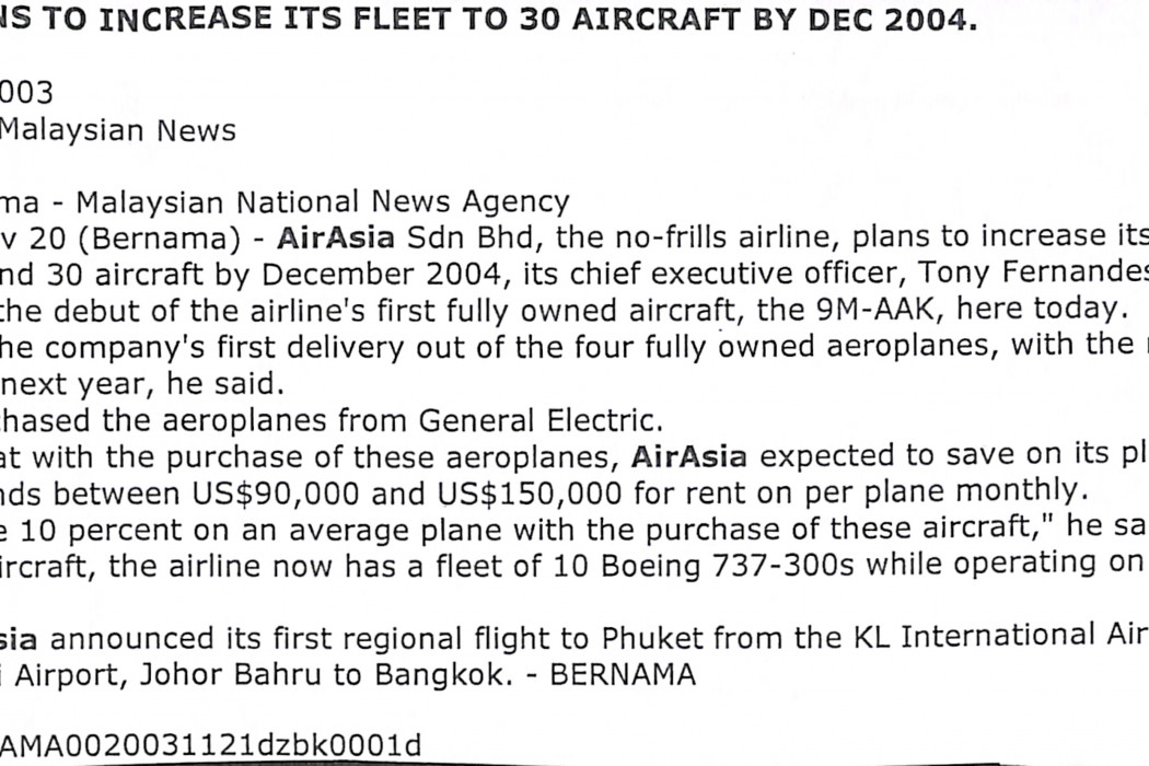 airasia plans to increase its fleet to 30 aircraft by Dec 2004