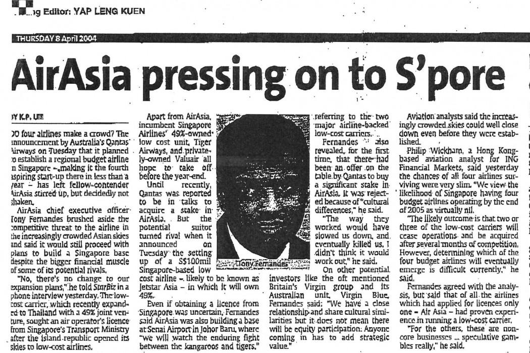 airasia pressing on to S'pore