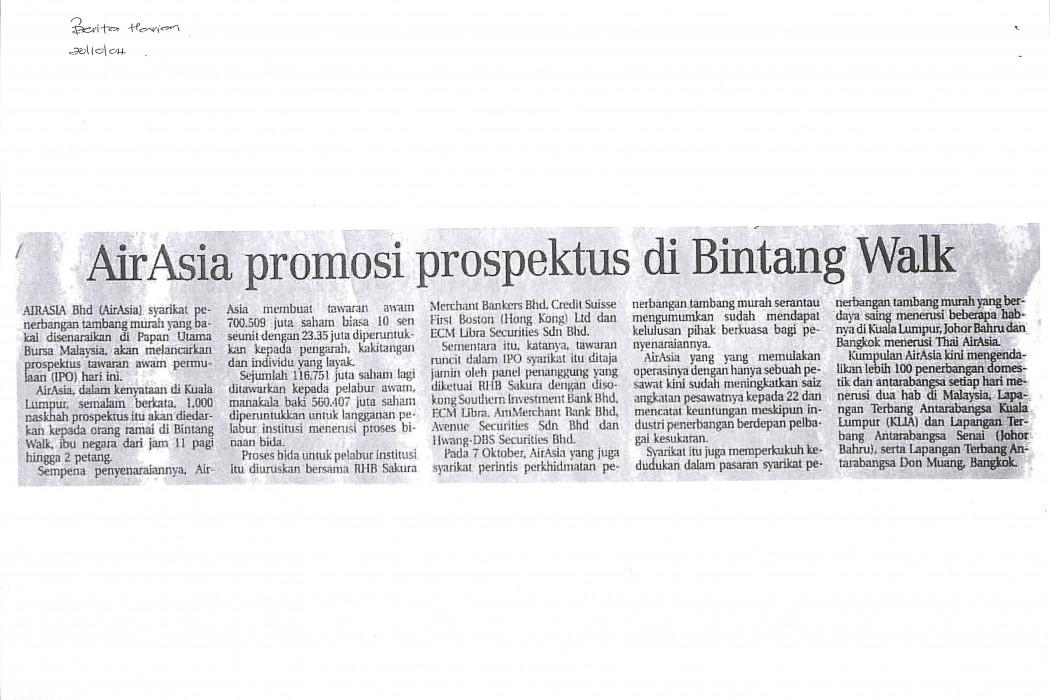 airasia promosi prospektus di Bintang Walk