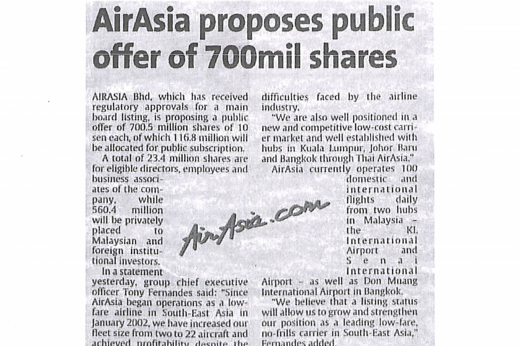 airasia proposes public offer of 700mil shares
