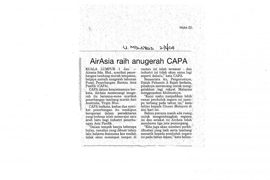 airasia raih anugerah CAPA