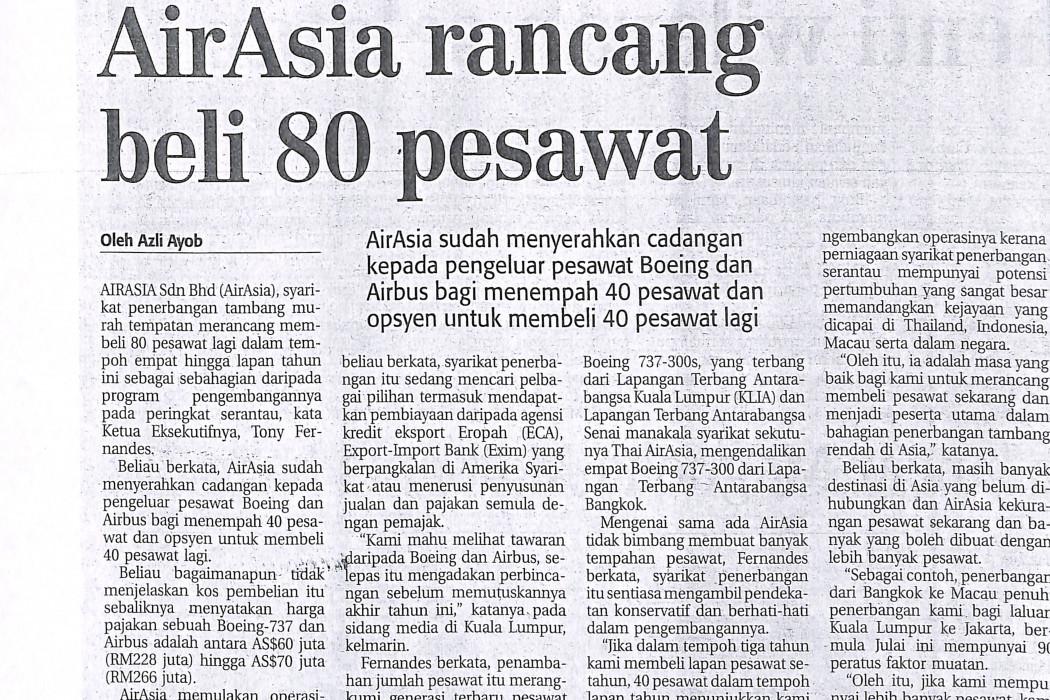 airasia rancang beli 80 pesawat