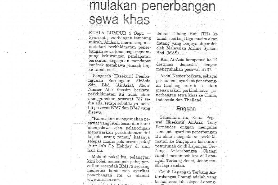 airasia rancang mulakan penerbangan sewa khas