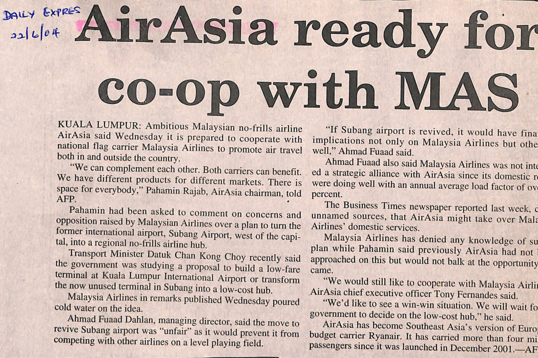 airasia ready for co-op with MAS