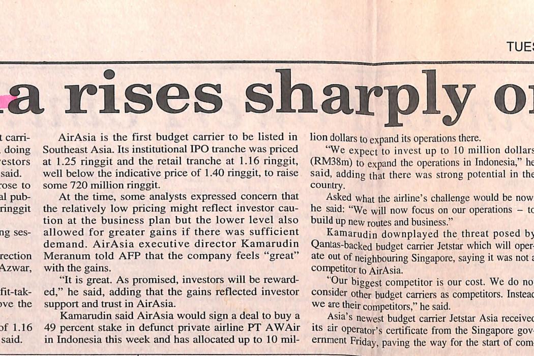 airasia rises sharply on debut