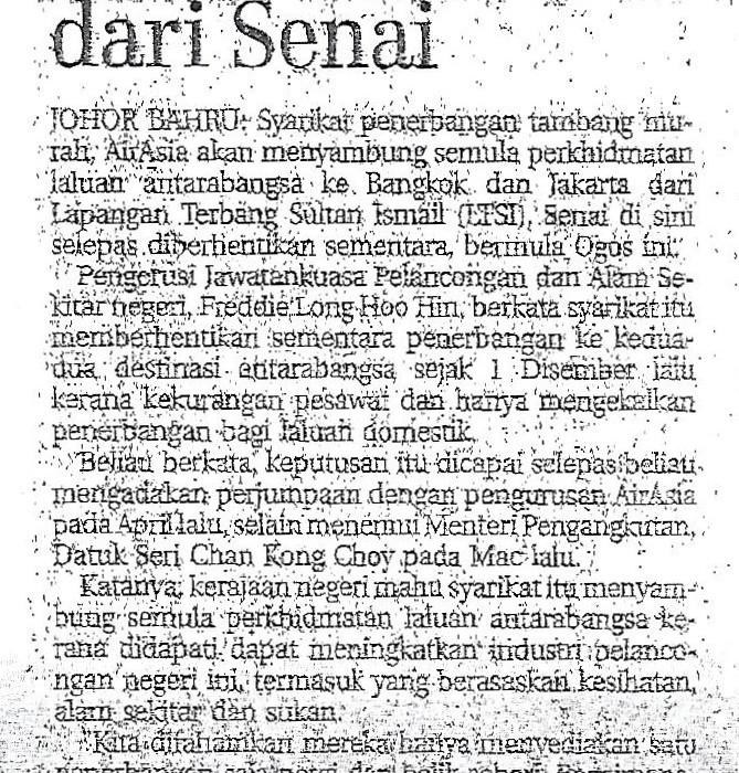 airasia sambung operasi antarabangsa dari Senai