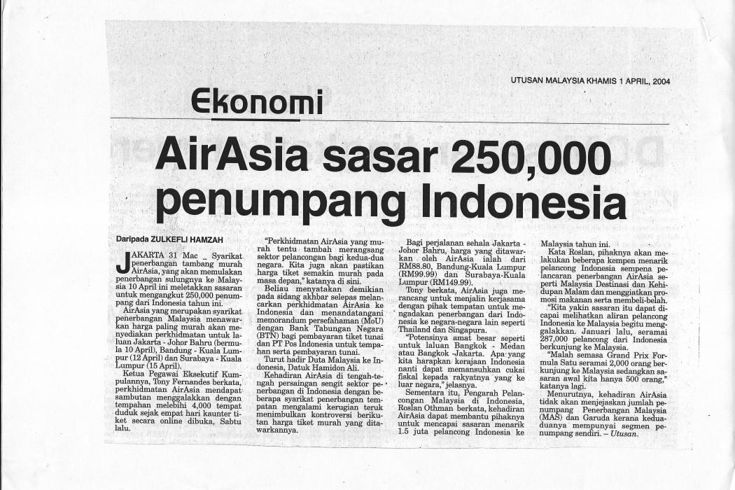 airasia sasar 250,000 penumpang Indonesia
