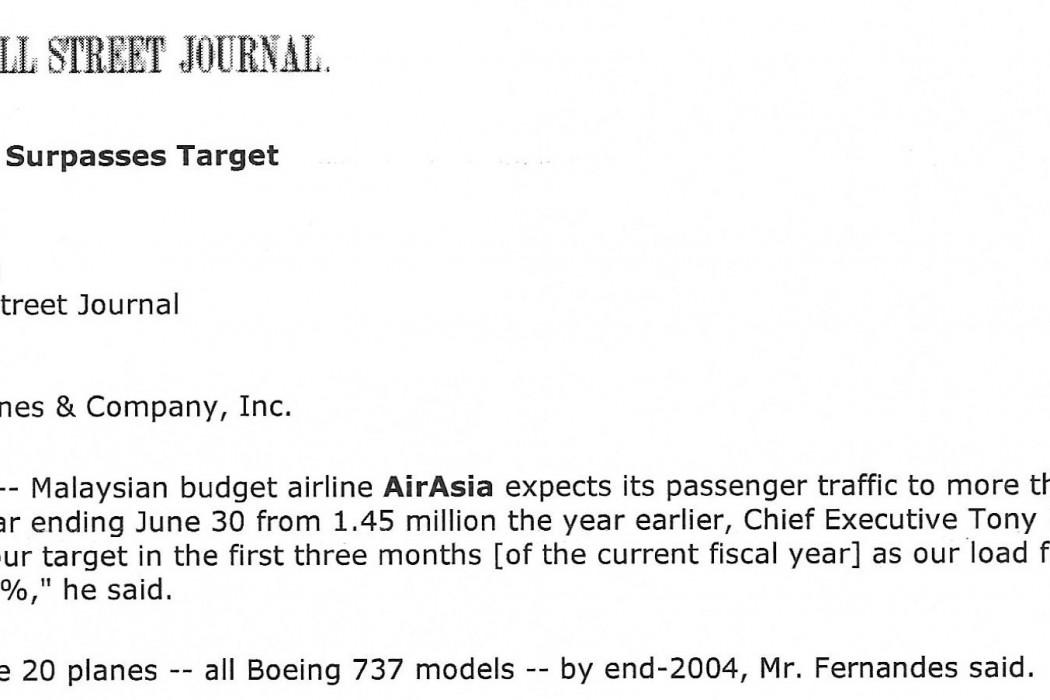 airasia says it surpasses target