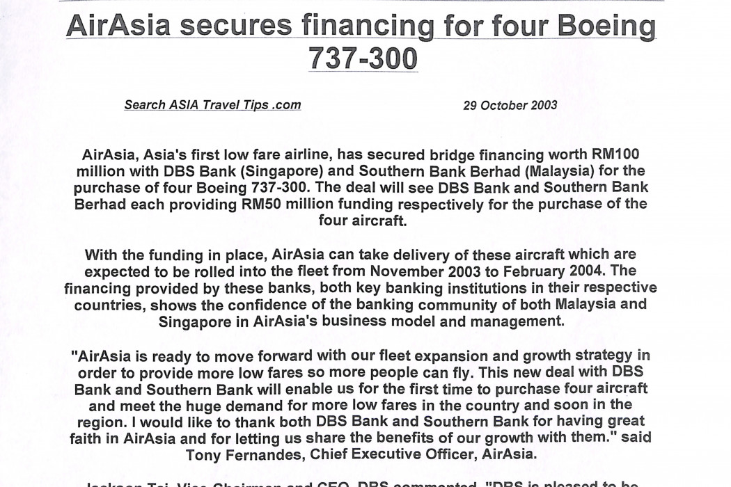 airasia secures financing for four Boeing 737-300