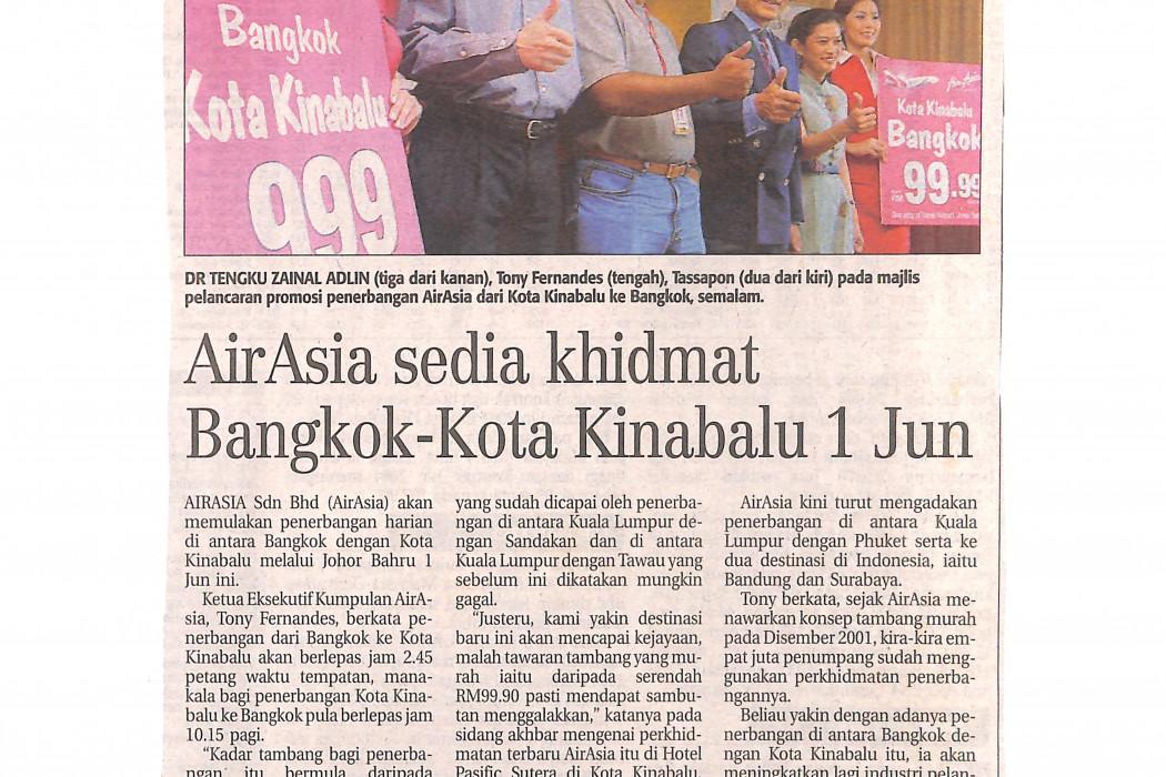 airasia sedia khidmat Bangkok-Kota Kinabalu 1 Jun
