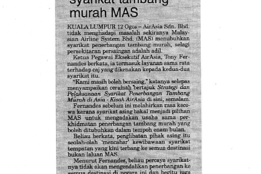 airasia sedia saingi syarikat tambang murah MAS