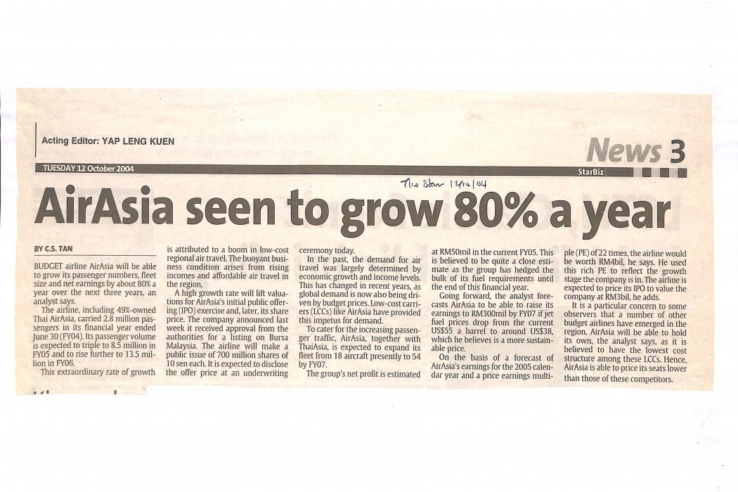 airasia seen to grow 80% a year